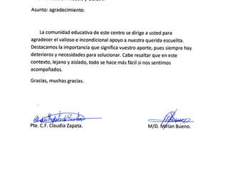 Agradecimiento escuela rural Nº 7, Patitas, Artigas.