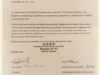 Agradecimiento Escuela Nº 113 -Nueva Palmira-