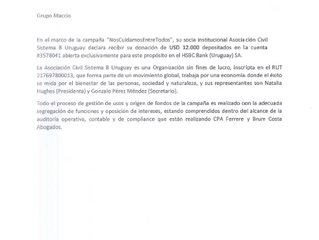Carta donación #NosCuidamosEntreTodos. COVID-19