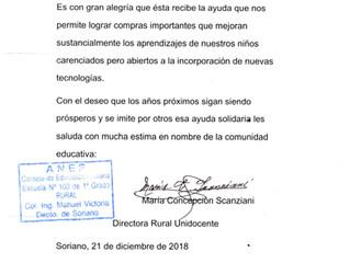 Agradecimiento escuela rural Nº 103, Colonia Manuel Victoria de Soriano, Soriano.