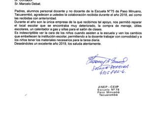 Agradecimiento escuela Nº 75, Paso Minuano, Tacuarembó.