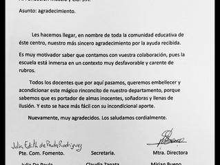 Agradecimiento escuela rural Nº7, Patitas, Artigas