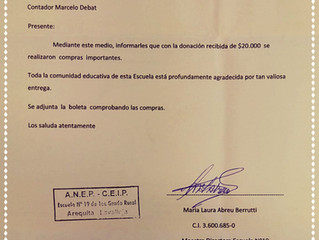 Agradecimiento escuela Nº19, paraje Arequita, Lavalleja