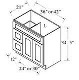 vanity sink drawer base 36 - 42 inches w