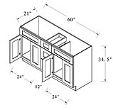 vanity sink drawer base 60 inches wide.J