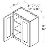 wall cabinets double doors 30-36 inches