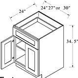 base cabinet single drawer double doors.