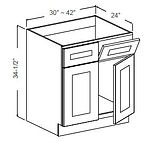 sink base double door 2 tilt out drawers