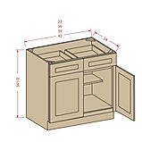 Kitchen double-door-double-drawer-bases.