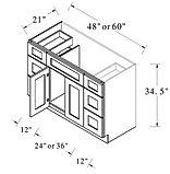 vanity sink drawer base combo 48 - 60 in