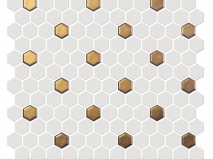 "1""x1"" White & Gold Matte Hexagon"