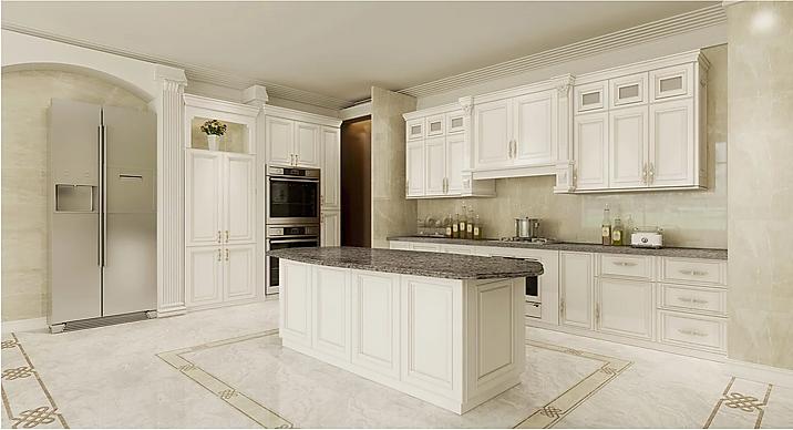 Antique White Raised Panel Kitchen Cabin