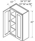 wall cabinets double doors 42 inches hig