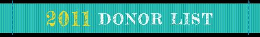 SHCF 2011 Donor List