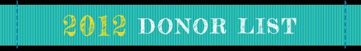 SHCF 2012 Donor List