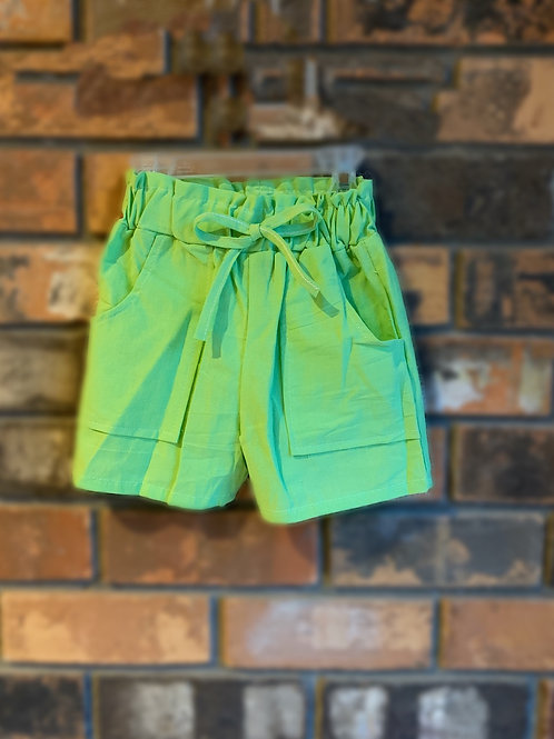 Lime Bow-Tie Shorts