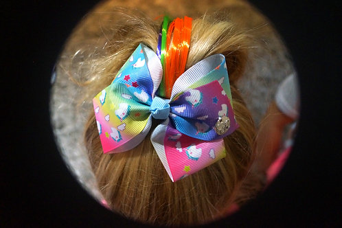Colorful Unicorn Bow With Hair