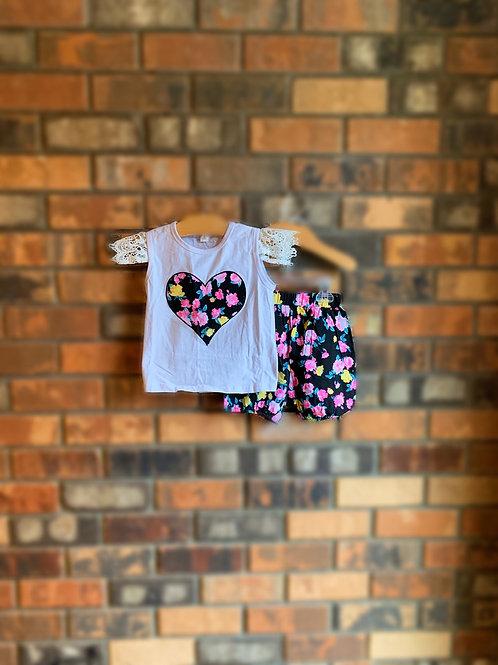 Blooming Hearts 2pc. Shorts