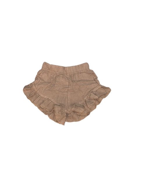 Organic Cotton Ruffle Shorts- Brown