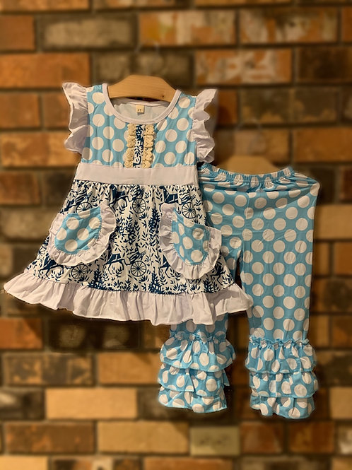 Blue & White Polka Dot Pant Set