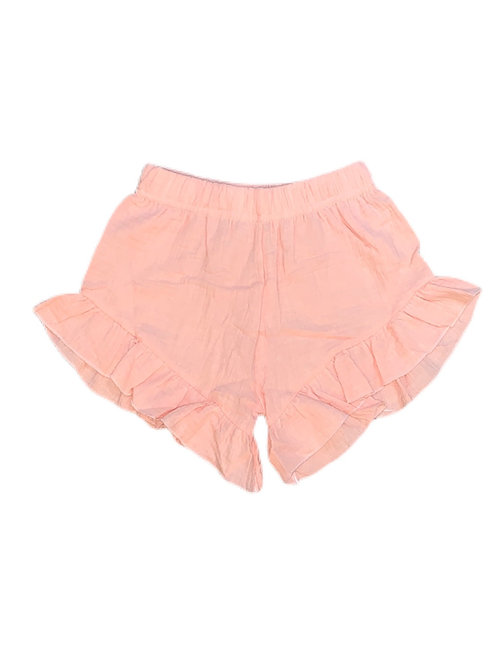Organic Cotton Ruffle Shorts- Blush