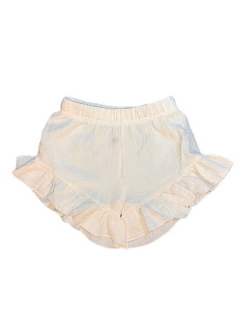 Organic Cotton Ruffle Shorts- Ivory