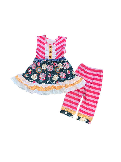 Floral Candy Stripe