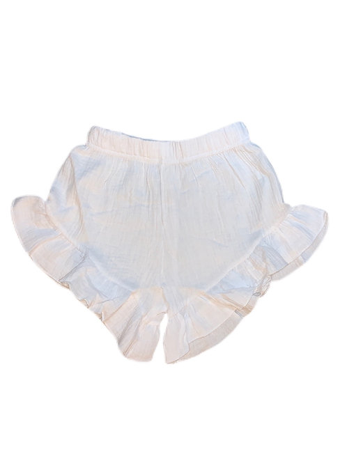 Organic Cotton Ruffle Shorts-White