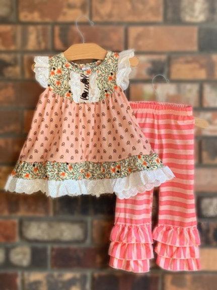 Peaches & Cream Dress & 2-Piece Pant Set