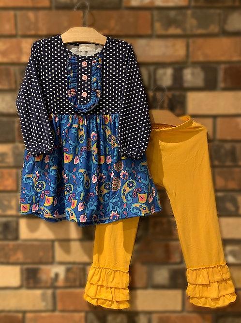 Blue & Yellow Dress & Pant Set