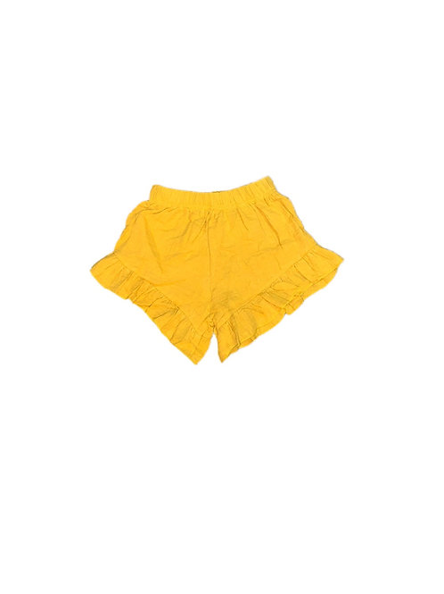 Organic Cotton Ruffle Shorts- Mustard