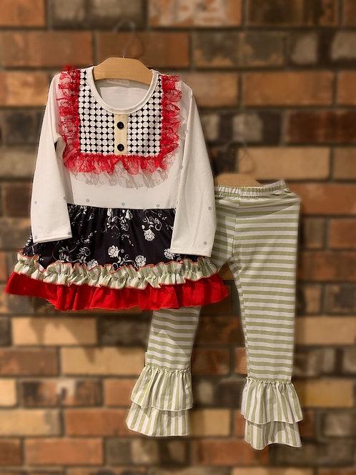 Red Lace Trim Pant Set