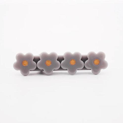 Gray Flower Acrylic Hair Clip