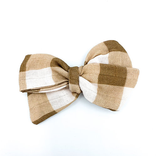 Vintage Chocolate  Gingham Bow