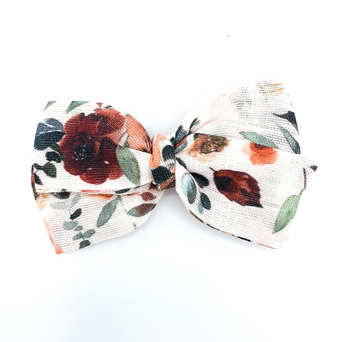 Thanksgiving Floral Gauze Bow