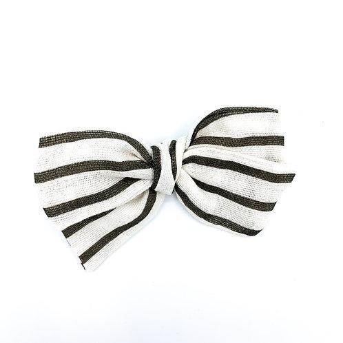 Coffee Stripe Gauze Bow
