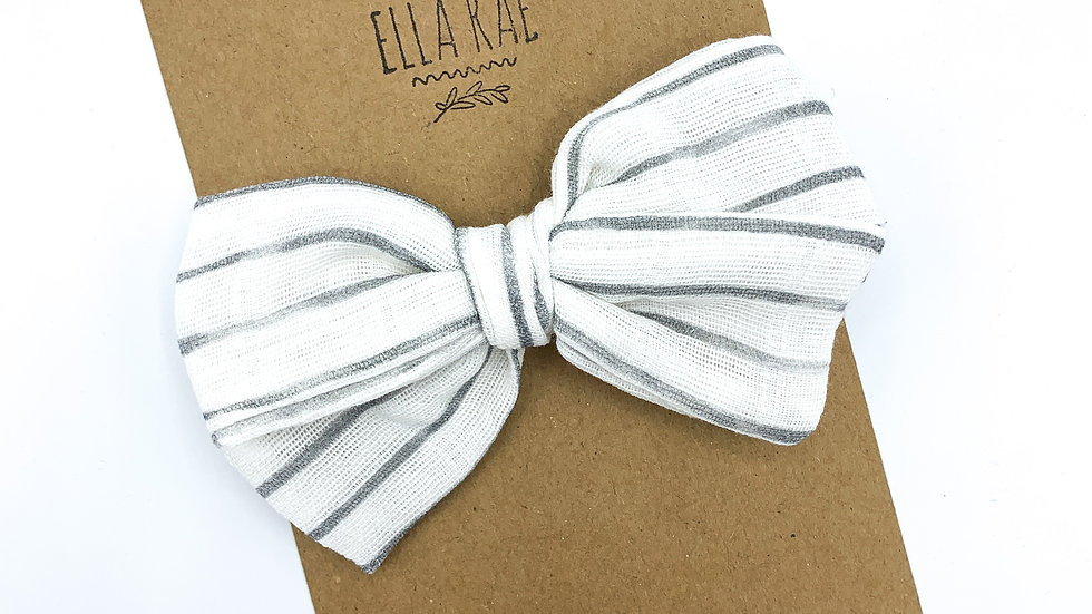 Mini Gray Stripe Gauze Bow