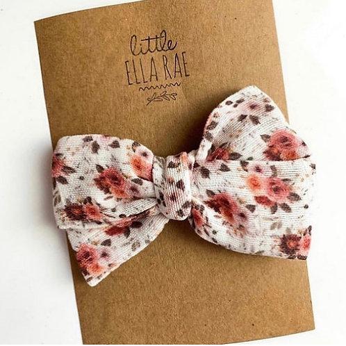 Crimson Floral Gauze Bow
