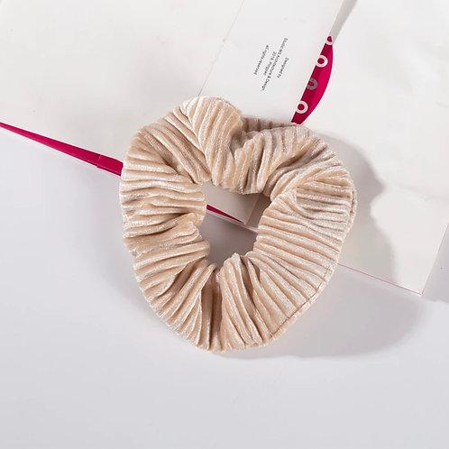 Ribbed Cream Velvet Scrunchie