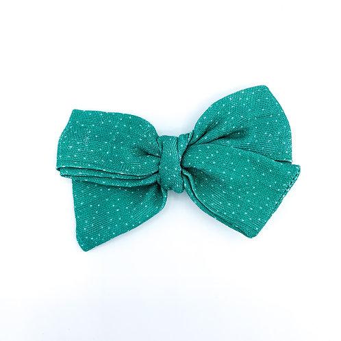 Mini Christmas Teal Dot Gauze Bow