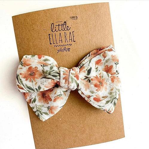 Rust Floral Gauze Bow