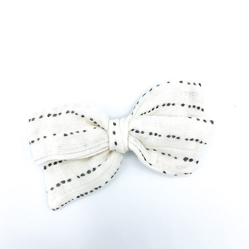 Mini Cream Dotted Gauze Bow