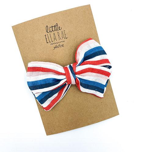 Bold Patriotic Stripe Gauze Bow