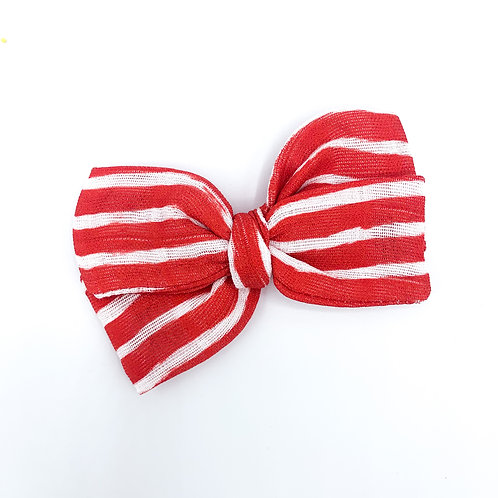 Mini Red Stripe Gauze Bow