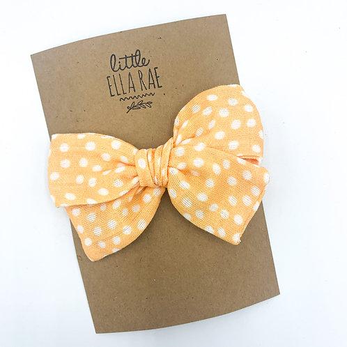 Mini Tangerine Dot Gauze Bow