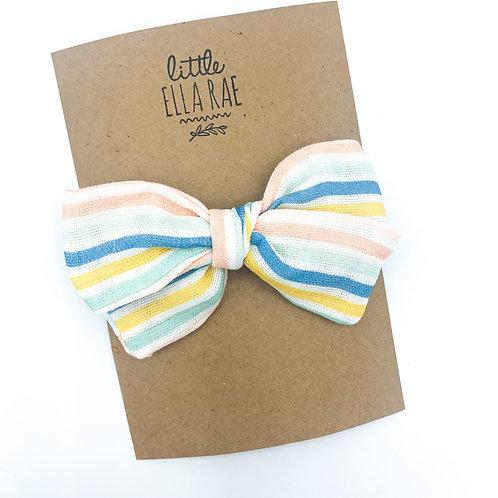 Mini Citrus Stripe Gauze Bow