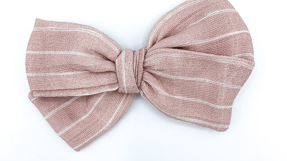 Blush Stripe Gauze Bow