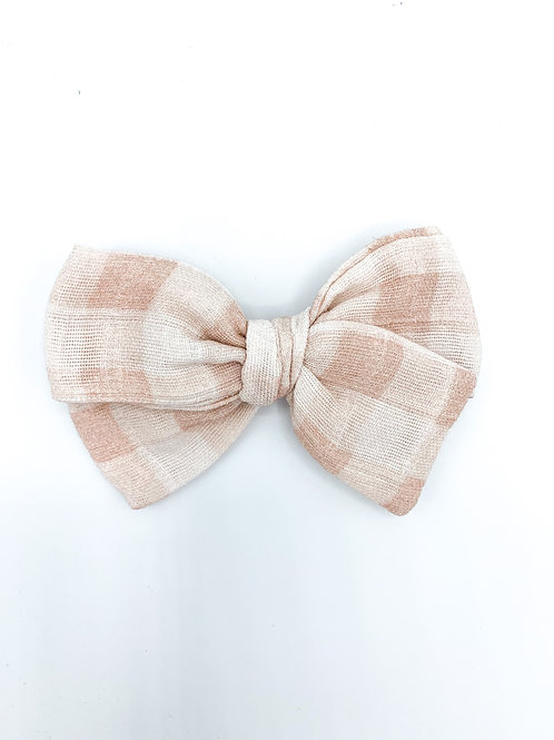 Blush Gingham Gauze Bow