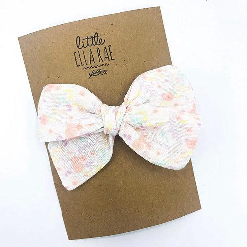 Pastel Floral Gauze Bow