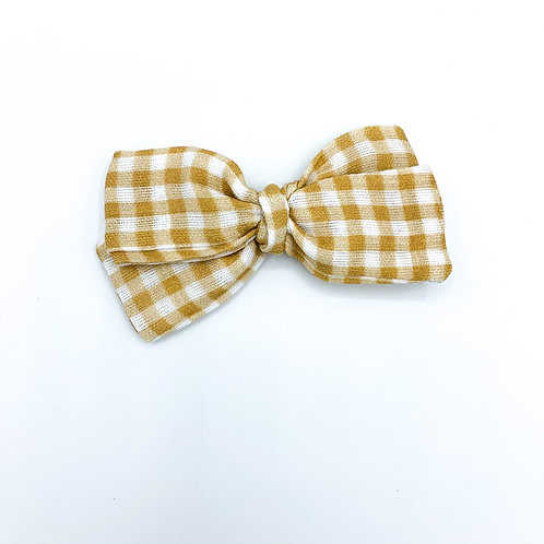 Mini Honey Gingham Gauze Bow